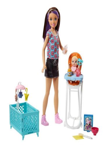 Barbie Barbie Bebek Bakıcılığı Oyun Seti Mor Saçlı Küvetli FXH05 Renkli